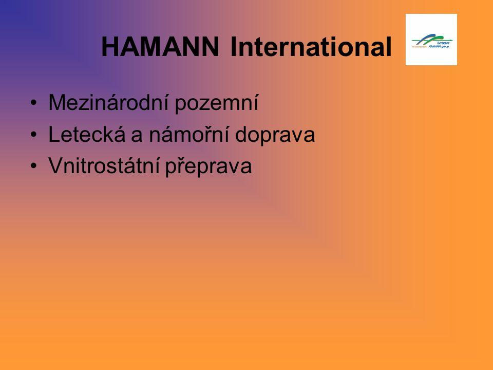 HAMANN International Mezinárodní pozemní Letecká a námořní doprava Vnitrostátní přeprava