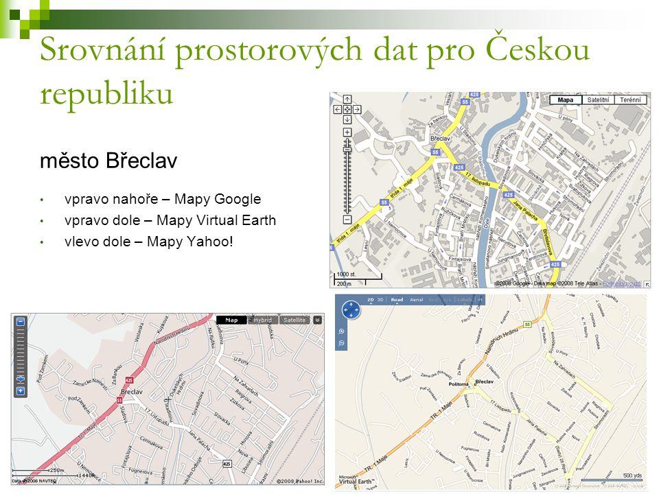 Srovnání prostorových dat pro Českou republiku město Břeclav vpravo nahoře – Mapy Google vpravo dole – Mapy Virtual Earth vlevo dole – Mapy Yahoo!