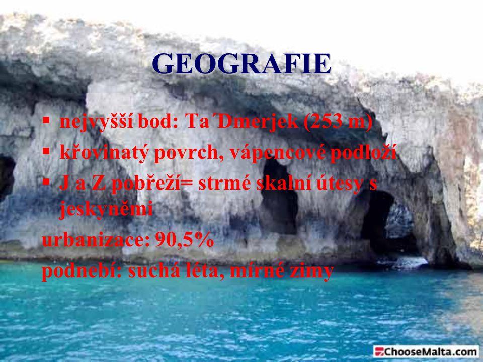 GEOGRAFIE  nejvyšší bod: Ta´Dmerjek (253 m)  křovinatý povrch, vápencové podloží  J a Z pobřeží= strmé skalní útesy s jeskyněmi urbanizace: 90,5% p