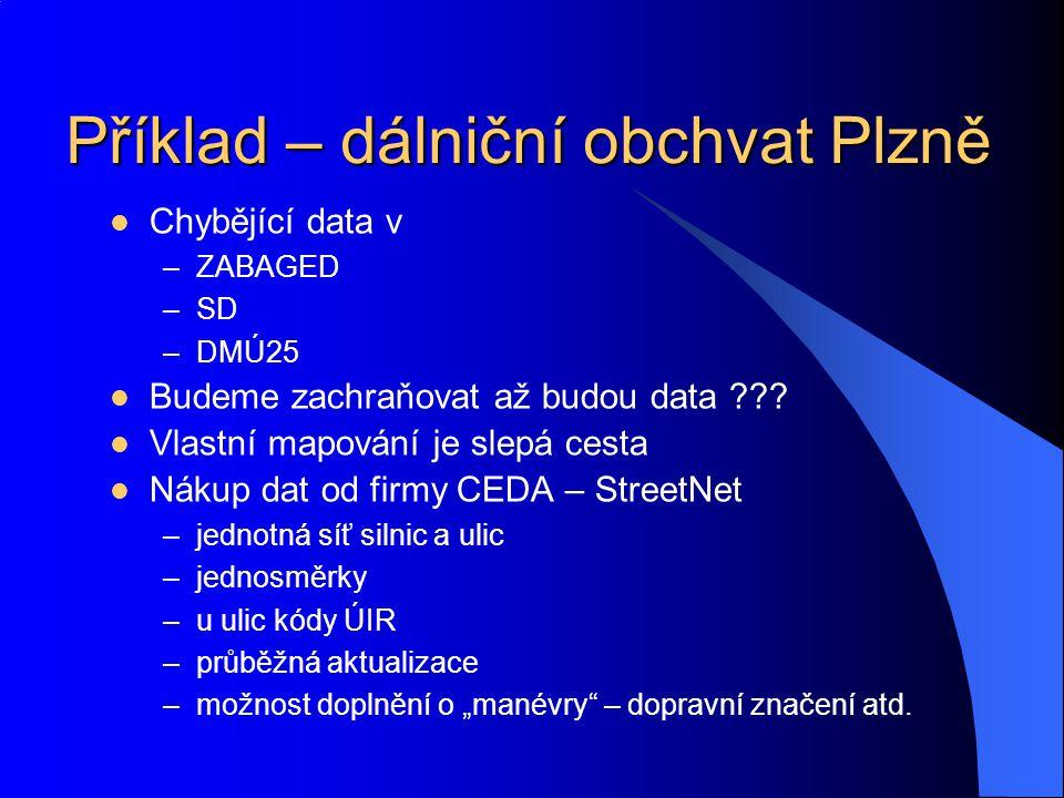 Příklad – dálniční obchvat Plzně Chybějící data v –ZABAGED –SD –DMÚ25 Budeme zachraňovat až budou data ??? Vlastní mapování je slepá cesta Nákup dat o