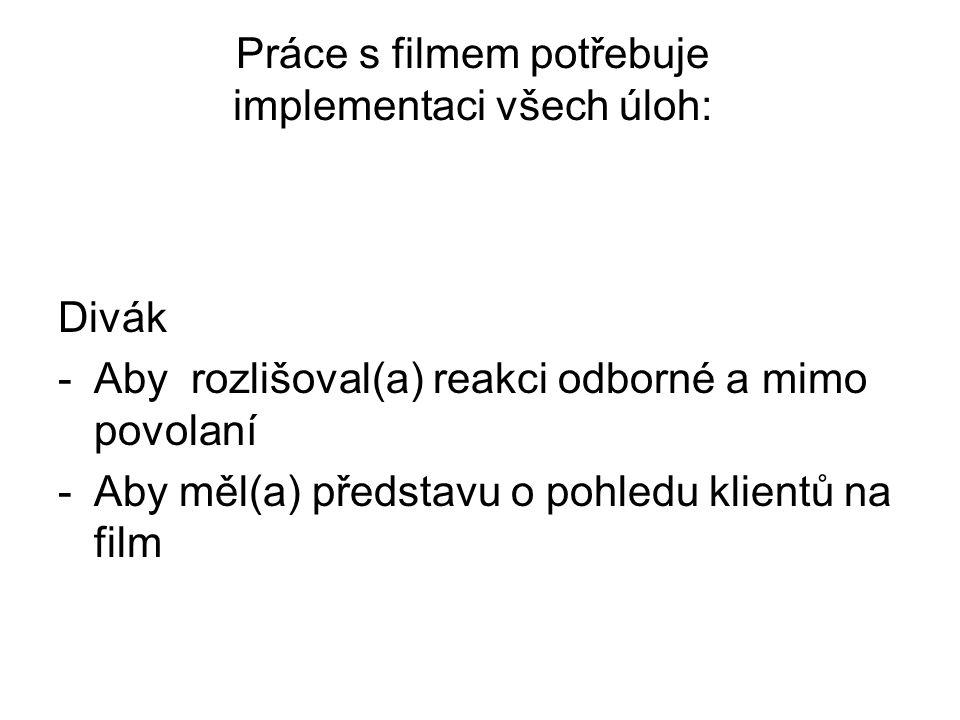 Práce s filmem potřebuje implementaci všech úloh: Divák -Aby rozlišoval(a) reakci odborné a mimo povolaní -Aby měl(a) představu o pohledu klientů na film