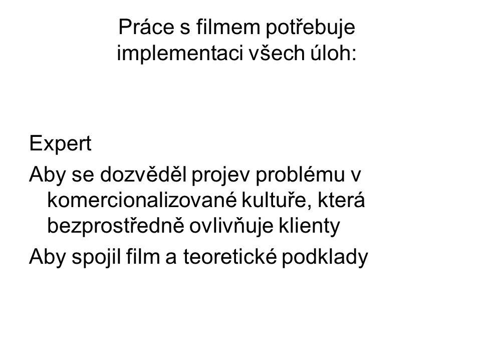 Práce s filmem potřebuje implementaci všech úloh: Expert Aby se dozvěděl projev problému v komercionalizované kultuře, která bezprostředně ovlivňuje klienty Aby spojil film a teoretické podklady