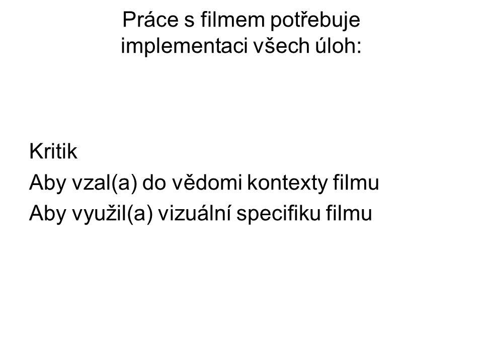 Práce s filmem potřebuje implementaci všech úloh: Kritik Aby vzal(a) do vědomi kontexty filmu Aby využil(a) vizuální specifiku filmu