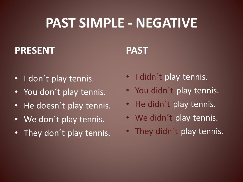 PAST SIMPLE - NEGATIVE PRESENT I don´t play tennis. You don´t play tennis. He doesn´t play tennis. We don´t play tennis. They don´t play tennis. PAST