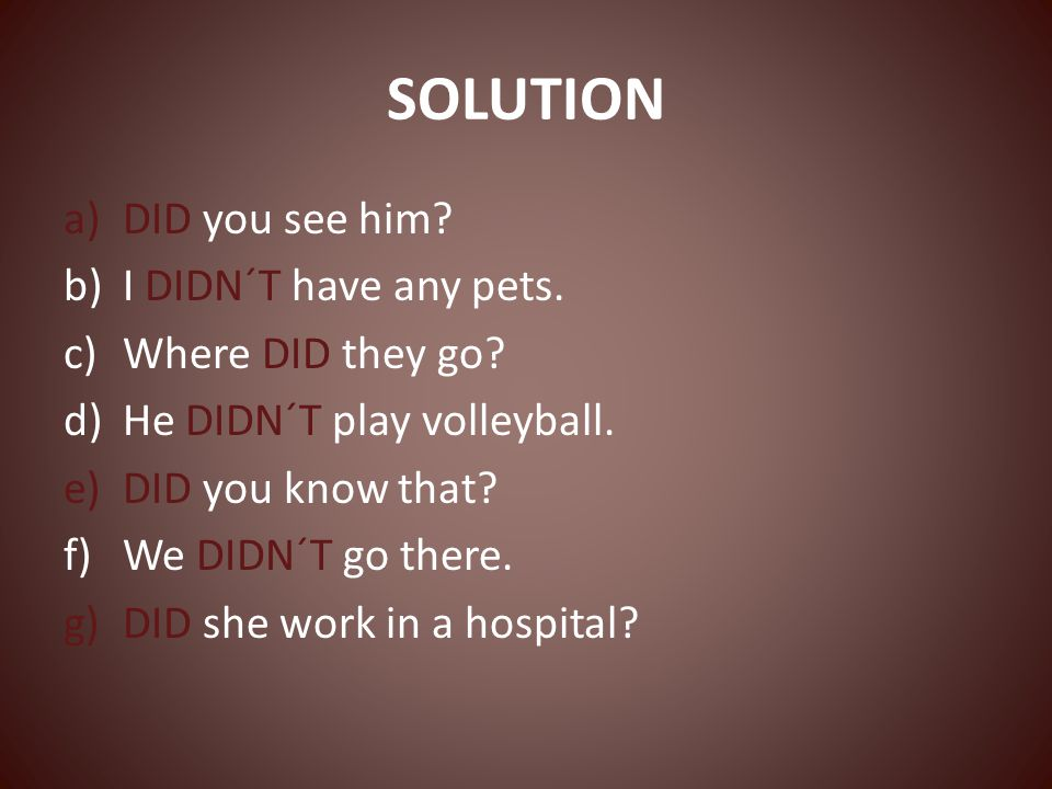 SOLUTION a)DID you see him. b)I DIDN´T have any pets.