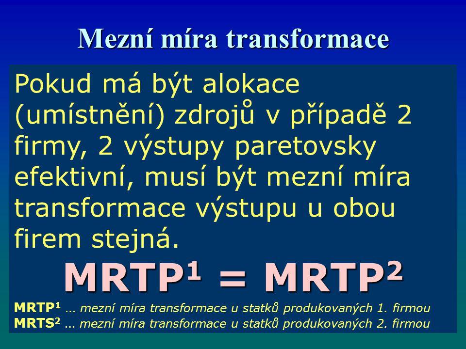 Mezní míra transformace Pokud má být alokace (umístnění) zdrojů v případě 2 firmy, 2 výstupy paretovsky efektivní, musí být mezní míra transformace výstupu u obou firem stejná.
