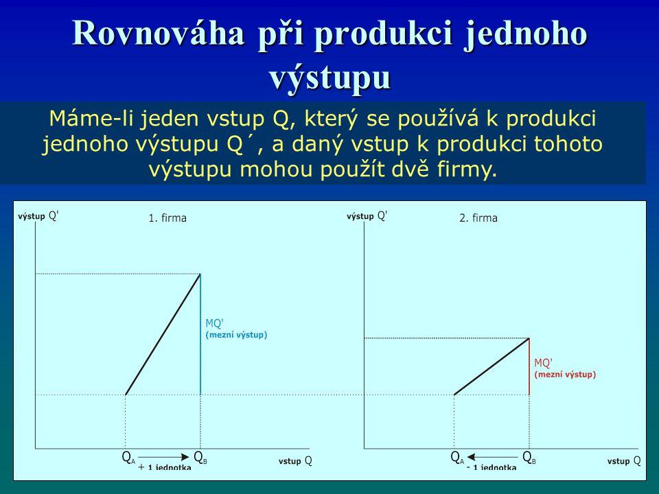 Rovnováha při produkci jednoho výstupu Máme-li jeden vstup Q, který se používá k produkci jednoho výstupu Q´, a daný vstup k produkci tohoto výstupu mohou použít dvě firmy.