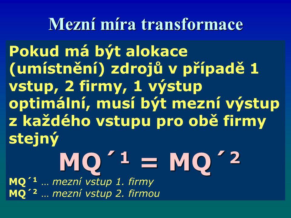Mezní míra transformace Pokud má být alokace (umístnění) zdrojů v případě 1 vstup, 2 firmy, 1 výstup optimální, musí být mezní výstup z každého vstupu pro obě firmy stejný MQ´ 1 = MQ´ 2 MQ´ 1 … mezní vstup 1.