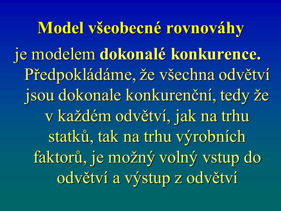 Model všeobecné rovnováhy je modelem dokonalé konkurence.