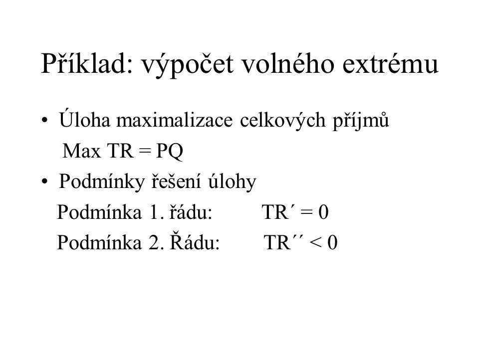 Příklad: výpočet volného extrému Úloha maximalizace celkových příjmů Max TR = PQ Podmínky řešení úlohy Podmínka 1. řádu: TR´ = 0 Podmínka 2. Řádu: TR´
