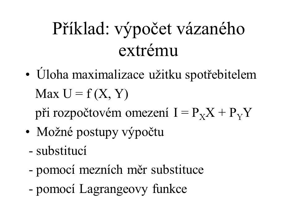 Příklad: výpočet vázaného extrému Úloha maximalizace užitku spotřebitelem Max U = f (X, Y) při rozpočtovém omezení I = P X X + P Y Y Možné postupy výp