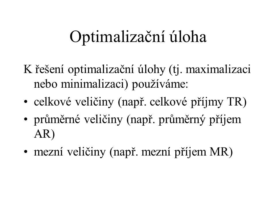Optimalizační úloha K řešení optimalizační úlohy (tj. maximalizaci nebo minimalizaci) používáme: celkové veličiny (např. celkové příjmy TR) průměrné v