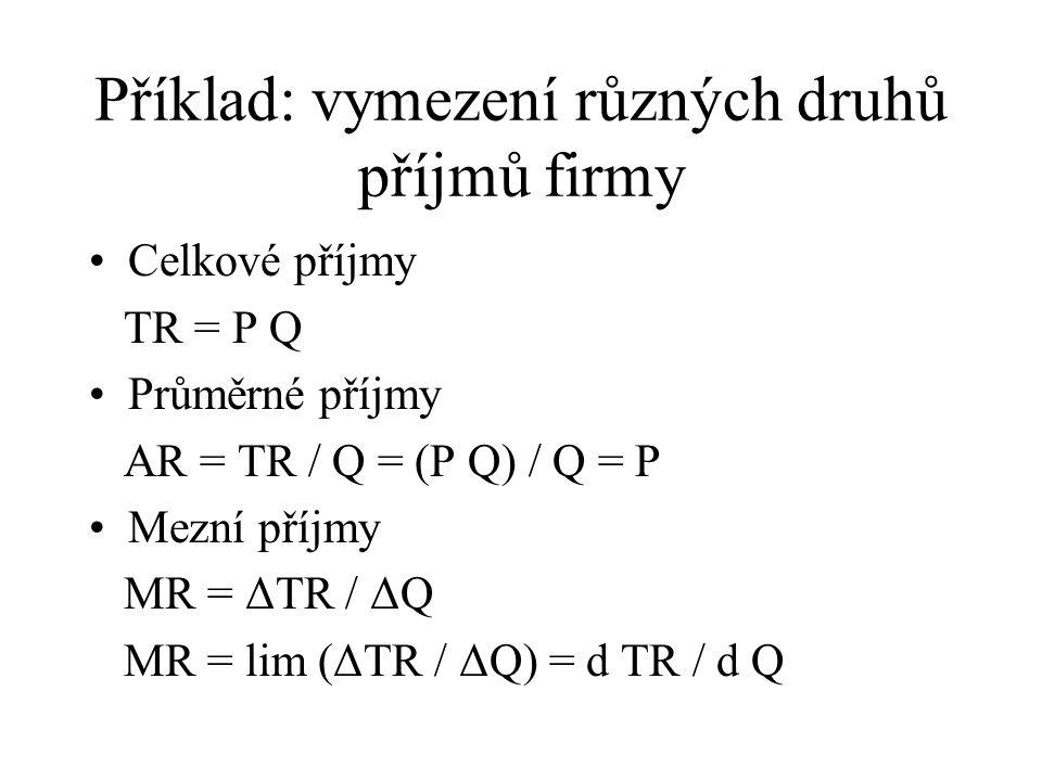 Příklad: vymezení různých druhů příjmů firmy Celkové příjmy TR = P Q Průměrné příjmy AR = TR / Q = (P Q) / Q = P Mezní příjmy MR = ΔTR / ΔQ MR = lim (