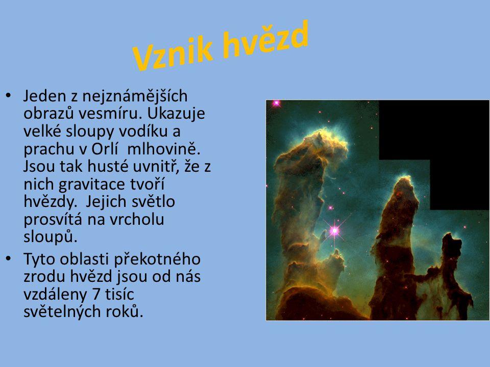 Jeden z nejznámějších obrazů vesmíru. Ukazuje velké sloupy vodíku a prachu v Orlí mlhovině.