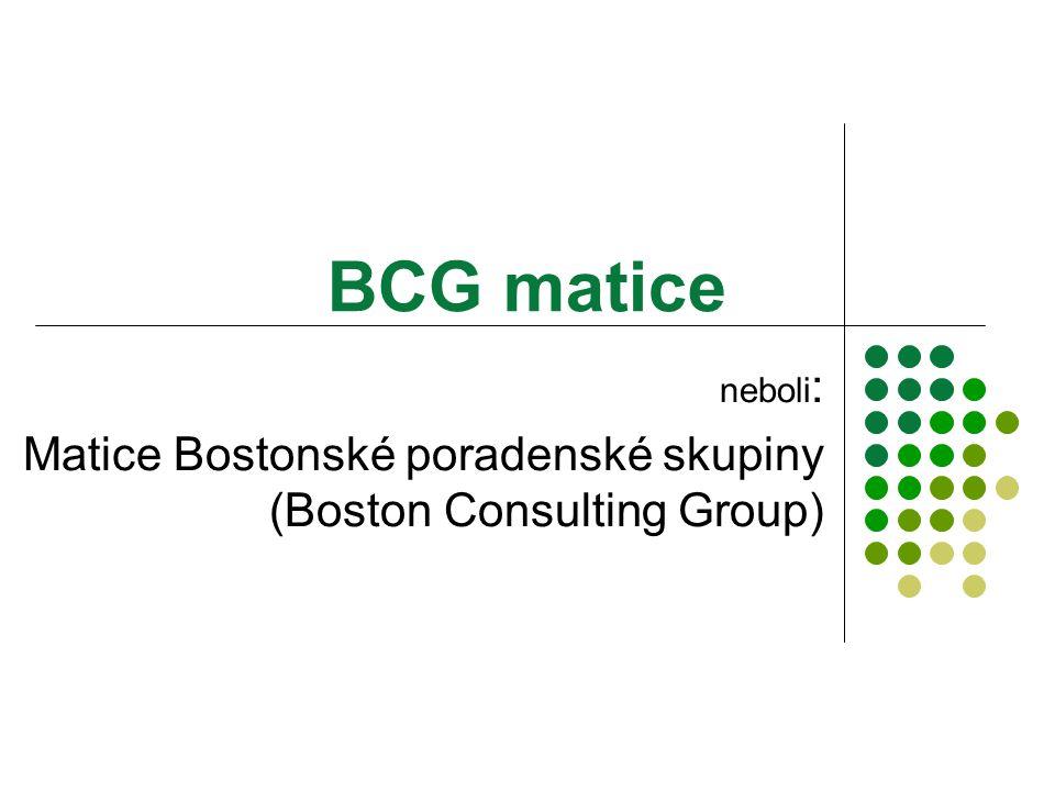 BCG matice neboli : Matice Bostonské poradenské skupiny (Boston Consulting Group)