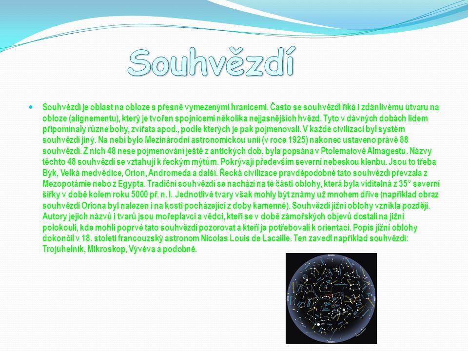 Souhvězdí je oblast na obloze s přesně vymezenými hranicemi. Často se souhvězdí říká i zdánlivému útvaru na obloze (alignementu), který je tvořen spoj
