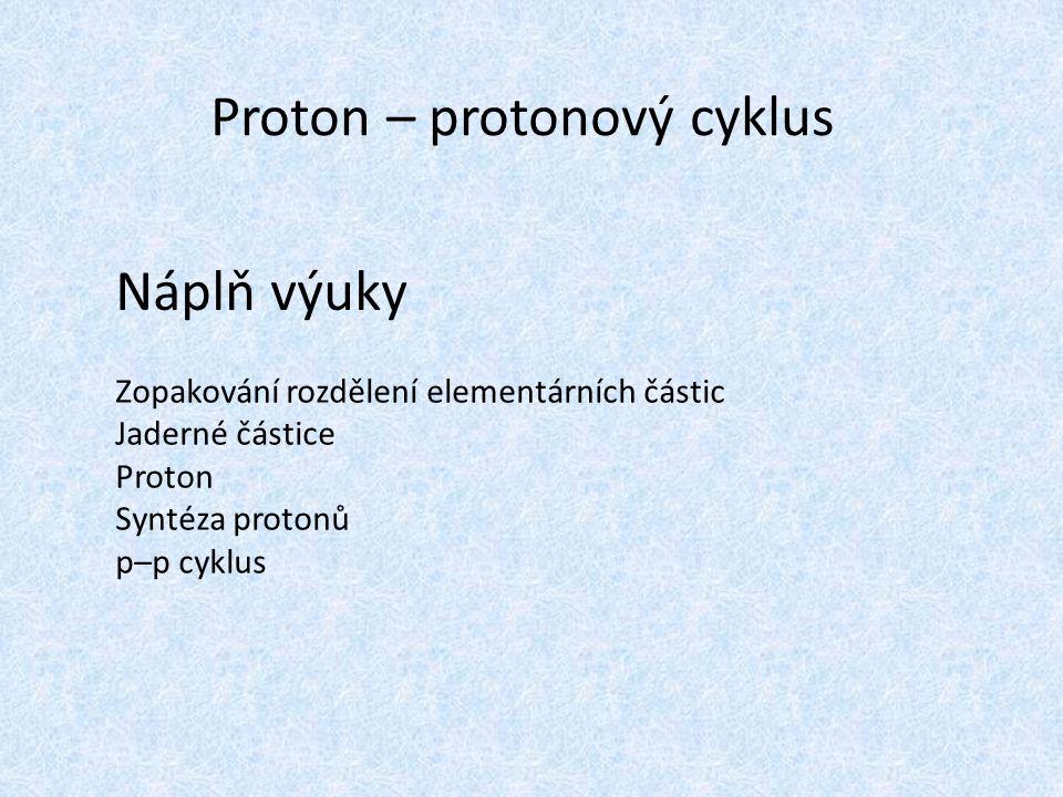 Proton – protonový cyklus Náplň výuky Zopakování rozdělení elementárních částic Jaderné částice Proton Syntéza protonů p–p cyklus