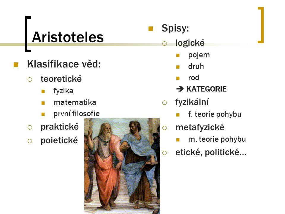 Aristoteles Klasifikace věd:  teoretické fyzika matematika první filosofie  praktické  poietické Spisy:  logické pojem druh rod  KATEGORIE  fyzi