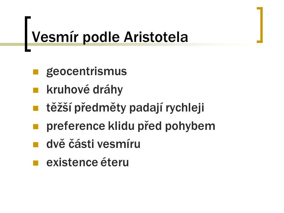 Vesmír podle Aristotela geocentrismus kruhové dráhy těžší předměty padají rychleji preference klidu před pohybem dvě části vesmíru existence éteru