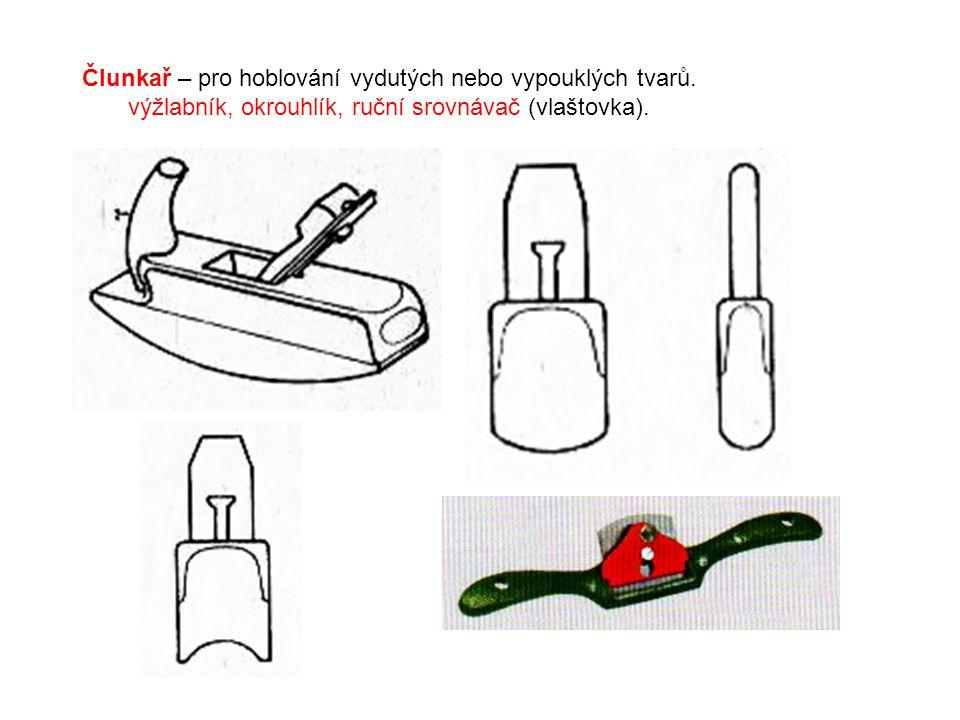 Člunkař – pro hoblování vydutých nebo vypouklých tvarů. výžlabník, okrouhlík, ruční srovnávač (vlaštovka).