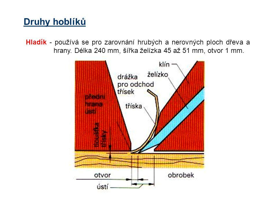 Druhy hoblíků Hladík - používá se pro zarovnání hrubých a nerovných ploch dřeva a hrany. Délka 240 mm, šířka želízka 45 až 51 mm, otvor 1 mm.
