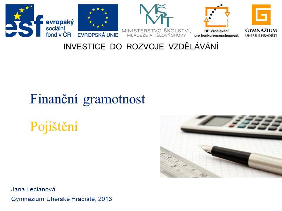 Finanční gramotnost Jana Leciánová Gymnázium Uherské Hradiště, 2013 Pojištění