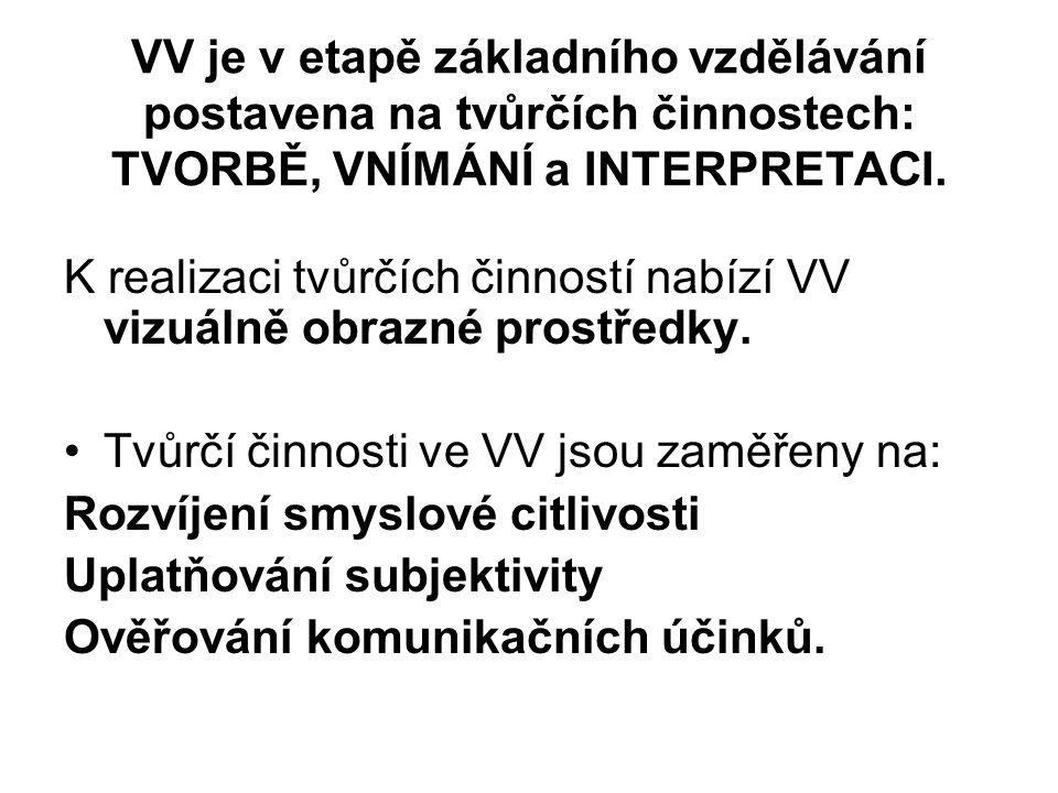 VV je v etapě základního vzdělávání postavena na tvůrčích činnostech: TVORBĚ, VNÍMÁNÍ a INTERPRETACI.