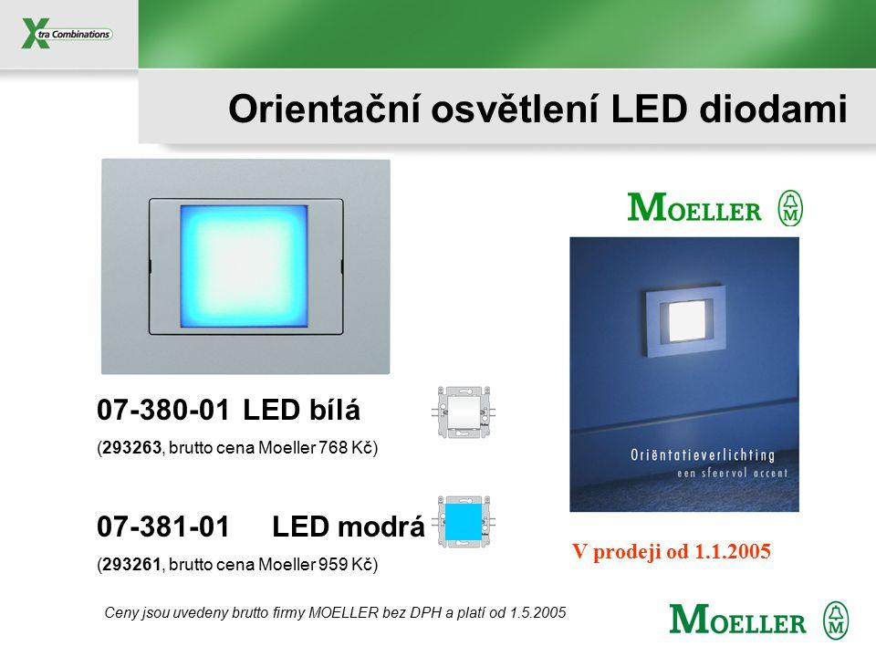 Kompaktní 4x LED 230 V / 0,6 W Barva LED: Bílá nebo Modrá Životnost: >50 000 hodin Montáž: přímo do instalační krabice KO, KP 68 Rozměry LED: 45x45x32 mm (šxvxh) Použití: pro rámečky PR20, PR20soft, da Vinci, CIRIO, AXEND (použijte vždy vnitřní mezirámeček XX-685 pro modul 45x45 mm) Orientační osvětlení LED diodami