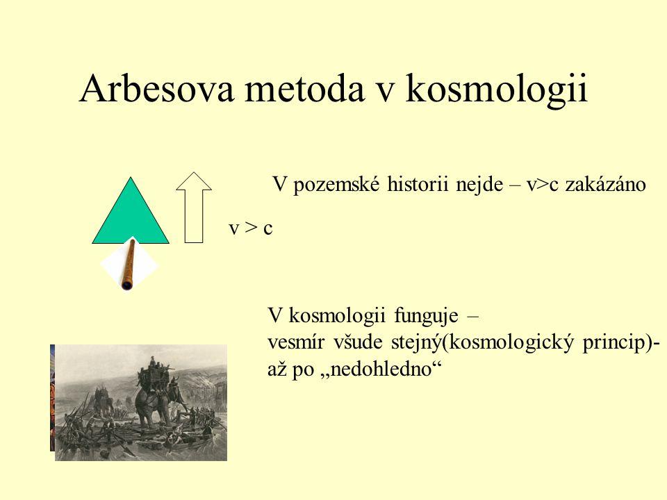 "Arbesova metoda v kosmologii v > c V pozemské historii nejde – v>c zakázáno V kosmologii funguje – vesmír všude stejný(kosmologický princip)- až po ""nedohledno"