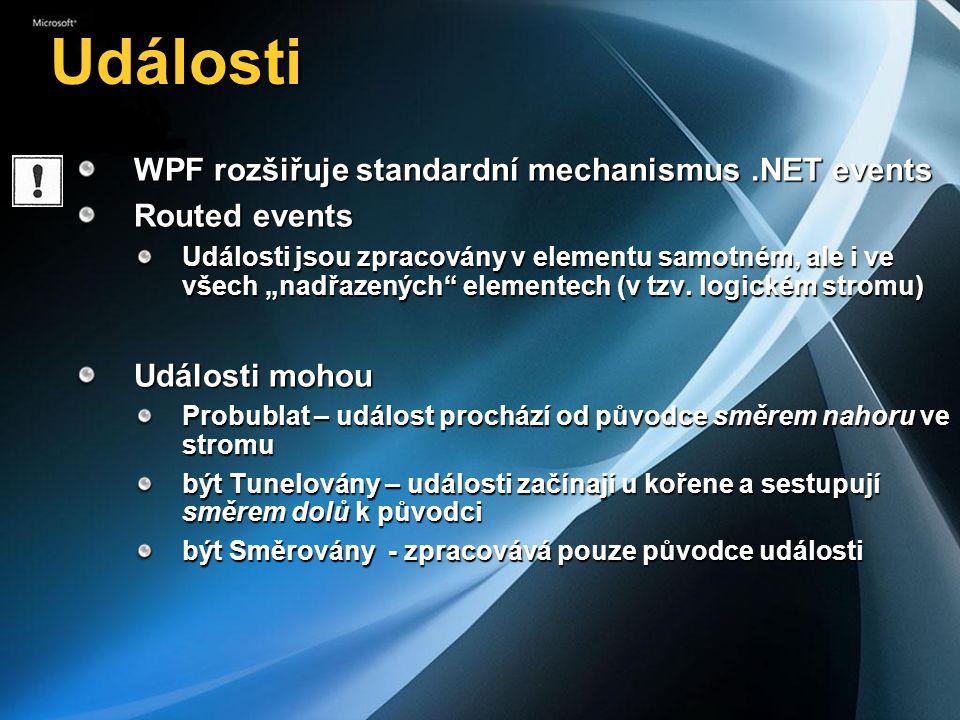"""Události WPF rozšiřuje standardní mechanismus.NET events Routed events Události jsou zpracovány v elementu samotném, ale i ve všech """"nadřazených elementech (v tzv."""