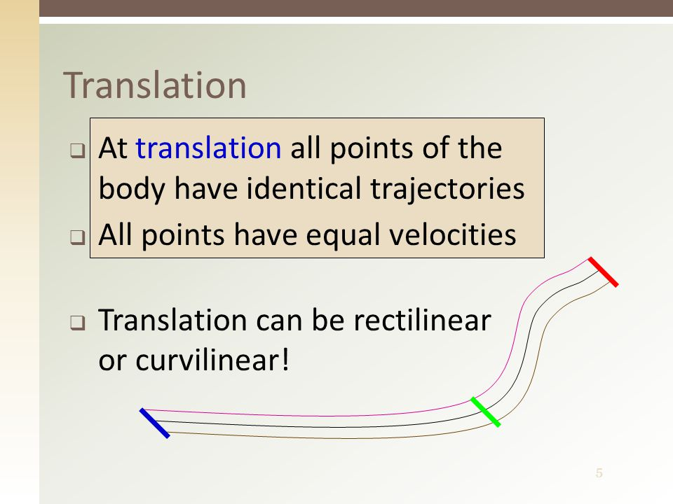 5 Translation  At translation all points of the body have identical trajectories  All points have equal velocities  Translation can be rectilinear or curvilinear!