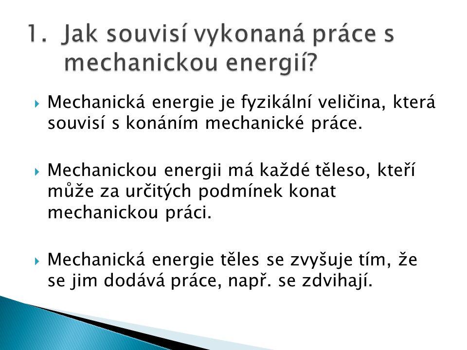  Mechanickou energii mají: ⁻ tělesa zvednutá nad povrch Země ⁻ tělesa pružně deformovaná ⁻ tělesa, která se pohybují