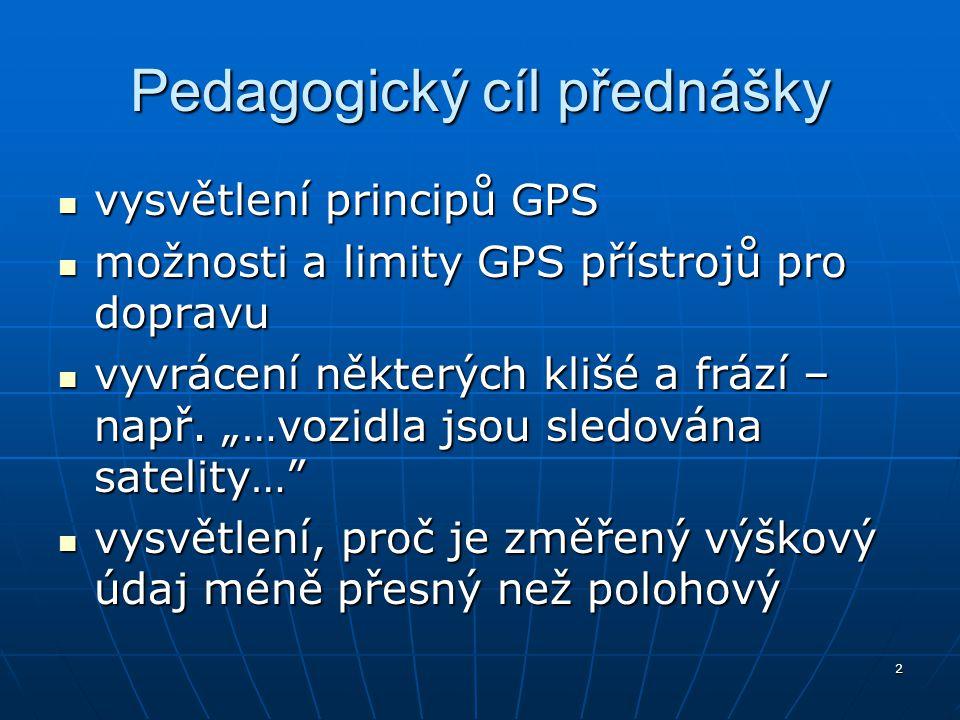 2 Pedagogický cíl přednášky vysvětlení principů GPS vysvětlení principů GPS možnosti a limity GPS přístrojů pro dopravu možnosti a limity GPS přístroj