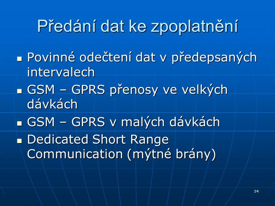 24 Předání dat ke zpoplatnění Povinné odečtení dat v předepsaných intervalech Povinné odečtení dat v předepsaných intervalech GSM – GPRS přenosy ve ve