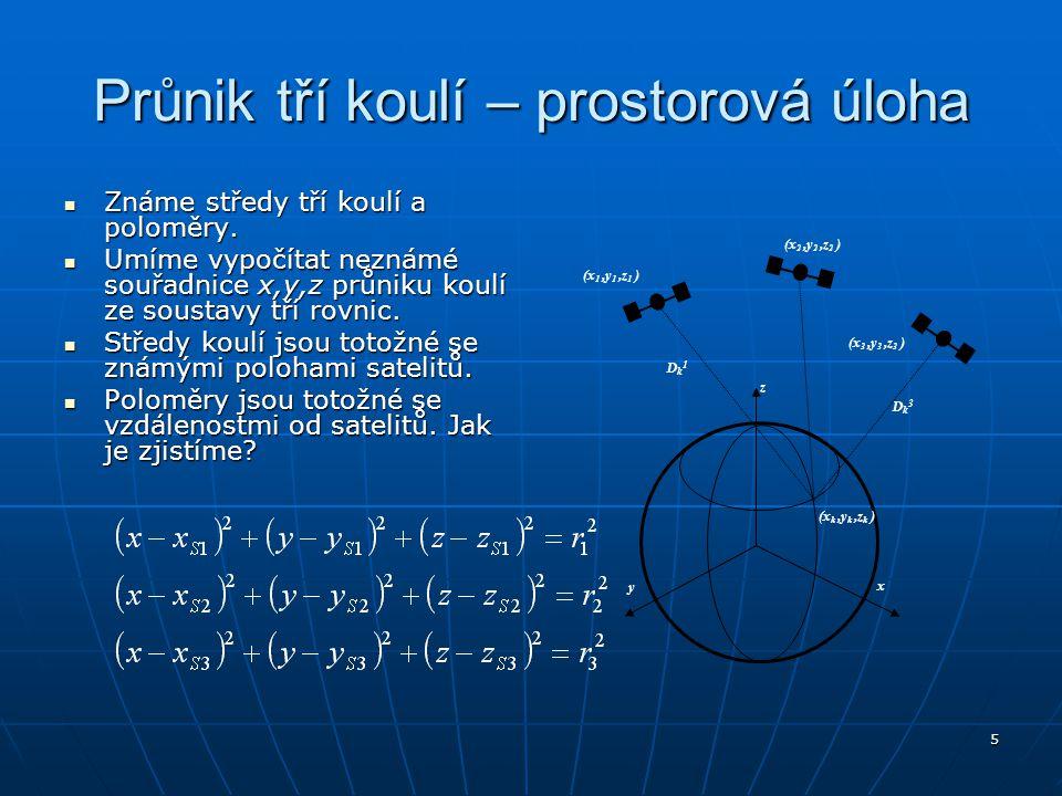 6 Zjišťování vzdálenosti hypotetický předpoklad dokonalé synchronizace hodin na vysílači a přijímači hypotetický předpoklad dokonalé synchronizace hodin na vysílači a přijímači z časového rozdílu od vyslání signálu do přijetí (v signálu ze satelitu je vyslán čas odeslání, přijímač zaznamená čas přijetí signálu) můžeme určit vzdálenost při známé rychlosti šíření signálu z časového rozdílu od vyslání signálu do přijetí (v signálu ze satelitu je vyslán čas odeslání, přijímač zaznamená čas přijetí signálu) můžeme určit vzdálenost při známé rychlosti šíření signálu rychlost šíření signálu je rovna rychlosti světla c= 299 792 458,0 m/s rychlost šíření signálu je rovna rychlosti světla c= 299 792 458,0 m/s Bohužel, nelze vybavit běžné přijímače tak přesnými hodinami, aby se zaručila potřebná synchronizace (potřebná přesnost hodin je přibližně 10 -9 s pro 0,3 m)
