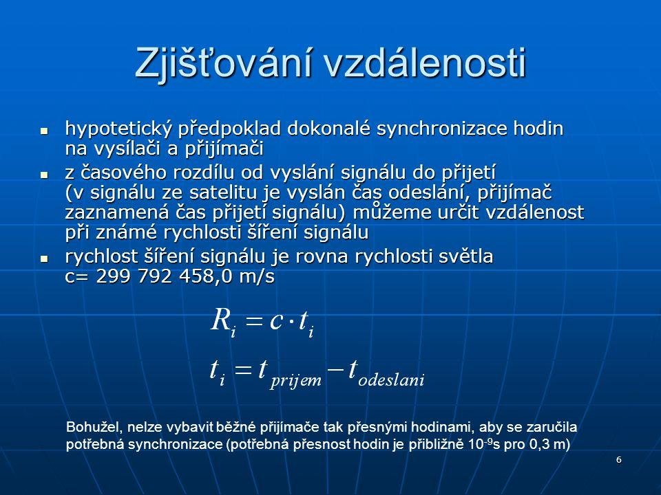 7 Výpočet pro nepřesné hodiny Pro všechny zjišťované vzdálenosti r i (s nepřesnými hodinami přijímače) se musí přičítat stejná oprava Δr 1 = Δr 2 = Δr i = Δr = Δt.c Pro všechny zjišťované vzdálenosti r i (s nepřesnými hodinami přijímače) se musí přičítat stejná oprava Δr 1 = Δr 2 = Δr i = Δr = Δt.c K neznámým souřadnicím [x,y,z] přibývá další neznámá Δr.