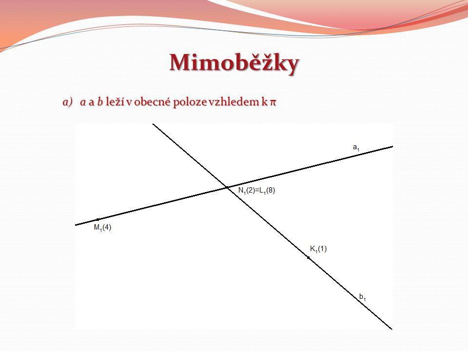 Mimoběžky a)a a b leží v obecné poloze vzhledem k π