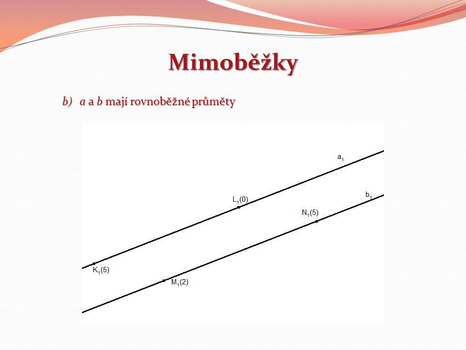 Mimoběžky b)a a b mají rovnoběžné průměty