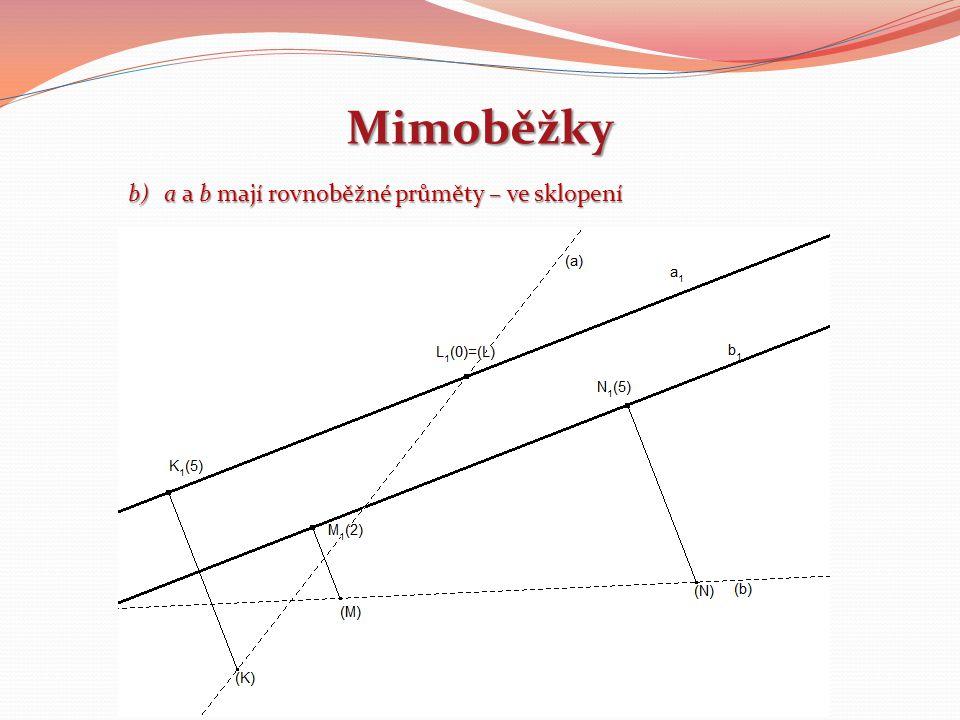 Mimoběžky b)a a b mají rovnoběžné průměty – ve sklopení