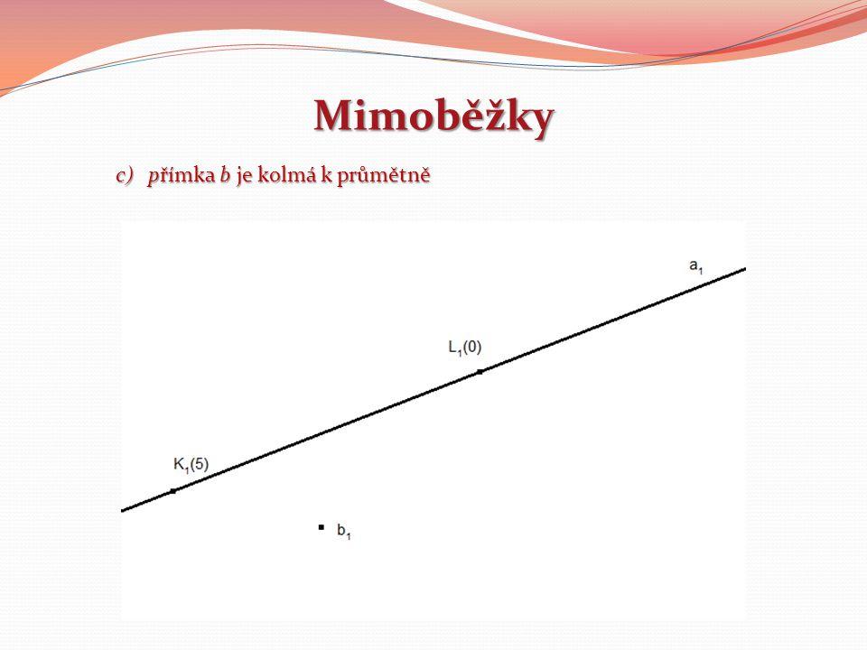 Mimoběžky c)přímka b je kolmá k průmětně