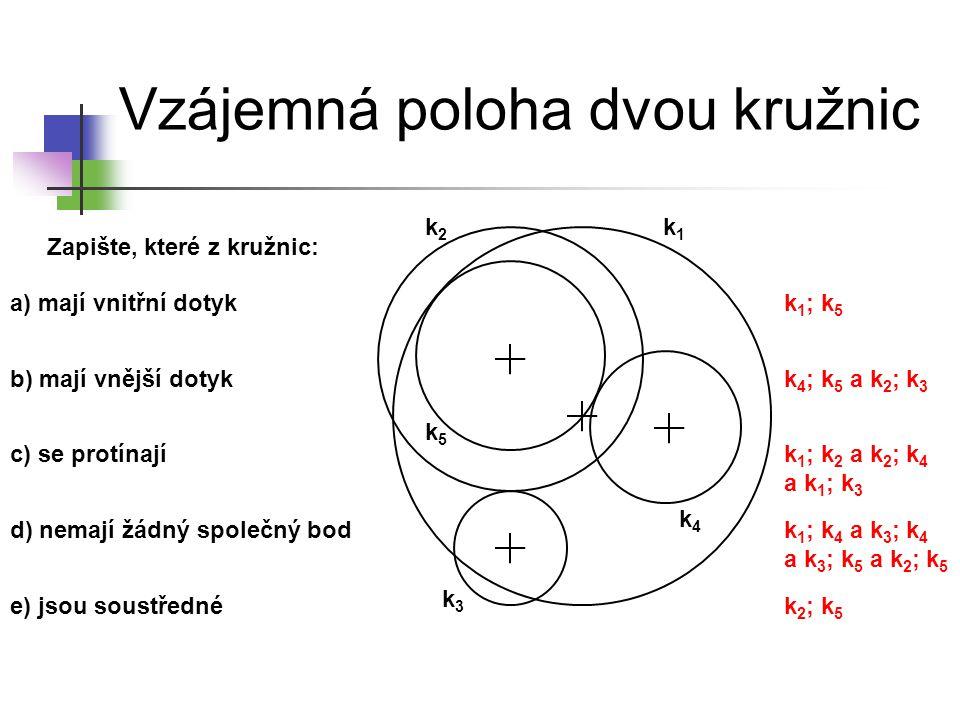 Vzájemná poloha dvou kružnic Zapište, které z kružnic: a) mají vnitřní dotyk b) mají vnější dotyk c) se protínají d) nemají žádný společný bod e) jsou