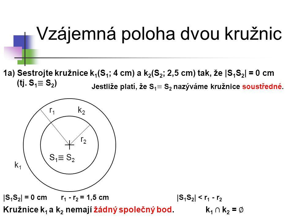 Vzájemná poloha dvou kružnic k1k1 S1S1 k2k2 Kružnice k 1 a k 2 nemají žádný společný bod. |S 1 S 2 | < r 1 - r 2 r 1 - r 2 = 1,5 cm|S 1 S 2 | = 0 cm r