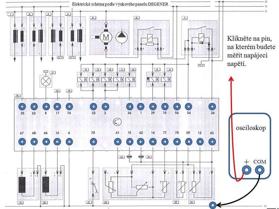 COM + Klikněte na pin, na kterém budete měřit napájecí napětí.