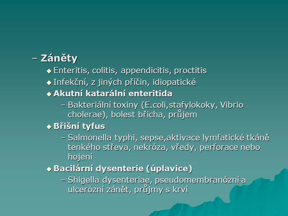 –Záněty  Enteritis, colitis, appendicitis, proctitis  Infekční, z jiných příčin, idiopatické  Akutní katarální enteritida –Bakteriální toxiny (E.co