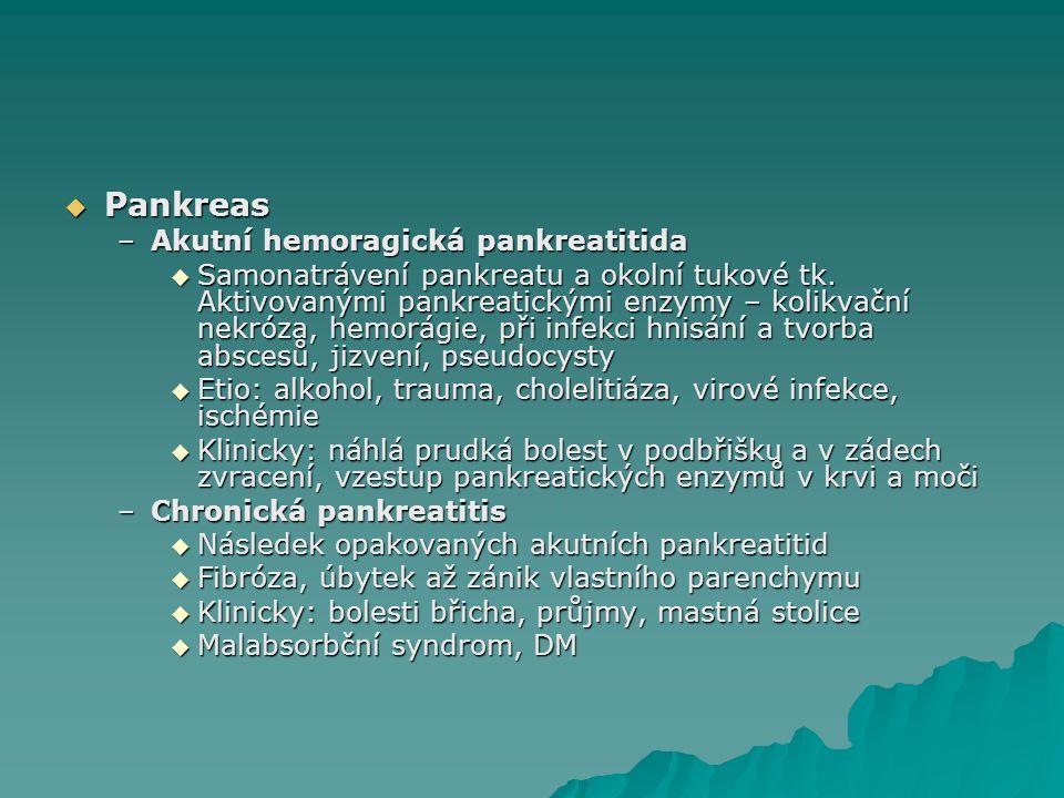  Pankreas –Akutní hemoragická pankreatitida  Samonatrávení pankreatu a okolní tukové tk. Aktivovanými pankreatickými enzymy – kolikvační nekróza, he