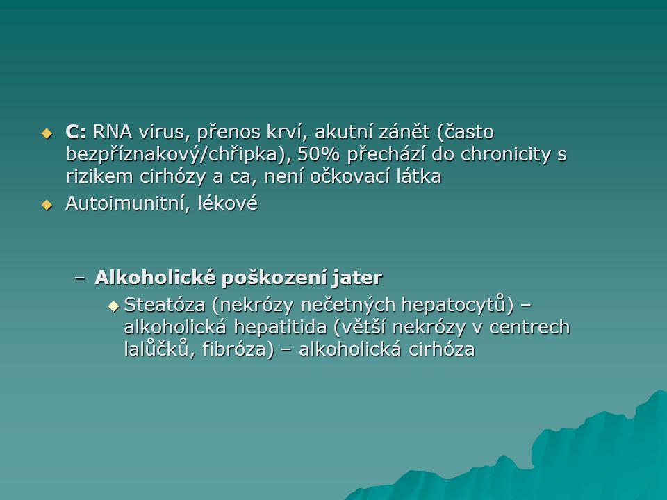  C: RNA virus, přenos krví, akutní zánět (často bezpříznakový/chřipka), 50% přechází do chronicity s rizikem cirhózy a ca, není očkovací látka  Autoimunitní, lékové –Alkoholické poškození jater  Steatóza (nekrózy nečetných hepatocytů) – alkoholická hepatitida (větší nekrózy v centrech lalůčků, fibróza) – alkoholická cirhóza