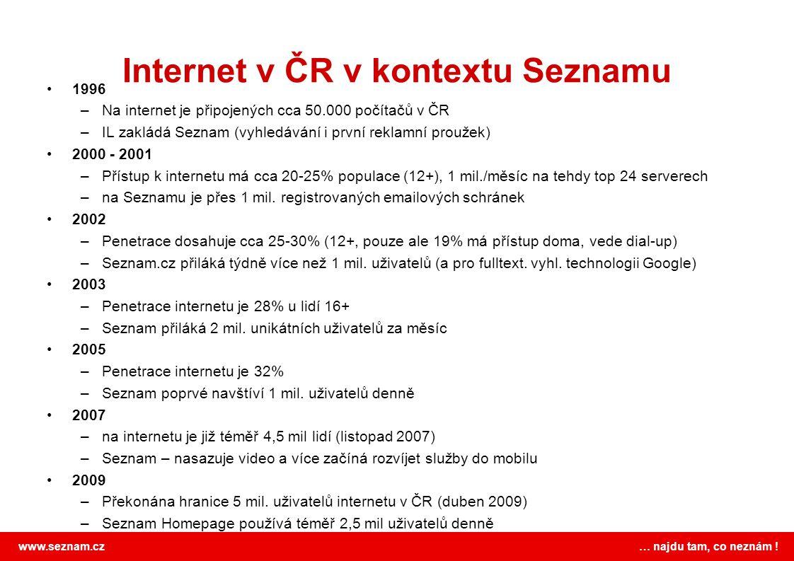 """www.seznam.cz … najdu tam, co neznám ! V top 10 se na první pohled """"nic nemění"""