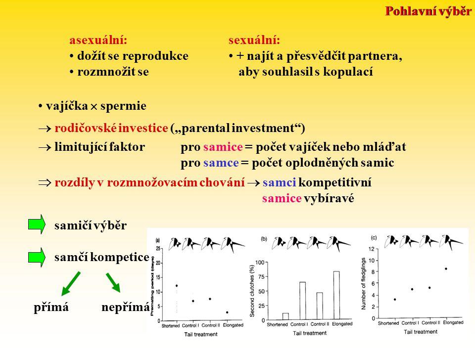 """Pohlavní výběr asexuální: dožít se reprodukce rozmnožit se sexuální: + najít a přesvědčit partnera, aby souhlasil s kopulací vajíčka  spermie  rodičovské investice (""""parental investment )  limitující faktorpro samice = počet vajíček nebo mláďat pro samce = počet oplodněných samic  rozdíly v rozmnožovacím chování  samci kompetitivní samice vybíravé samičí výběr samčí kompetice přímá nepřímá"""