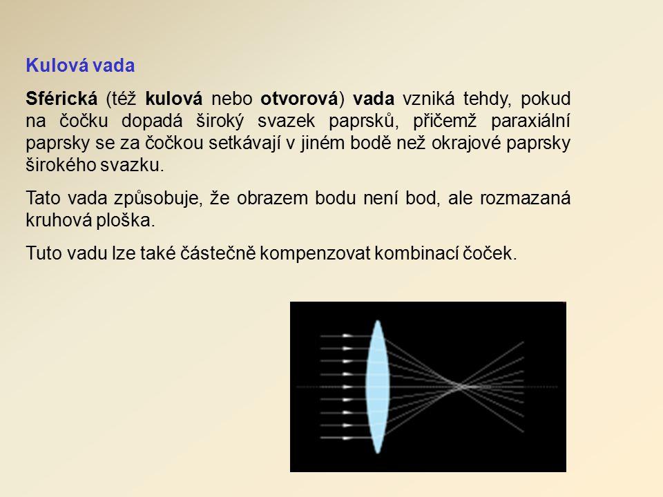 Kulová vada Sférická (též kulová nebo otvorová) vada vzniká tehdy, pokud na čočku dopadá široký svazek paprsků, přičemž paraxiální paprsky se za čočkou setkávají v jiném bodě než okrajové paprsky širokého svazku.