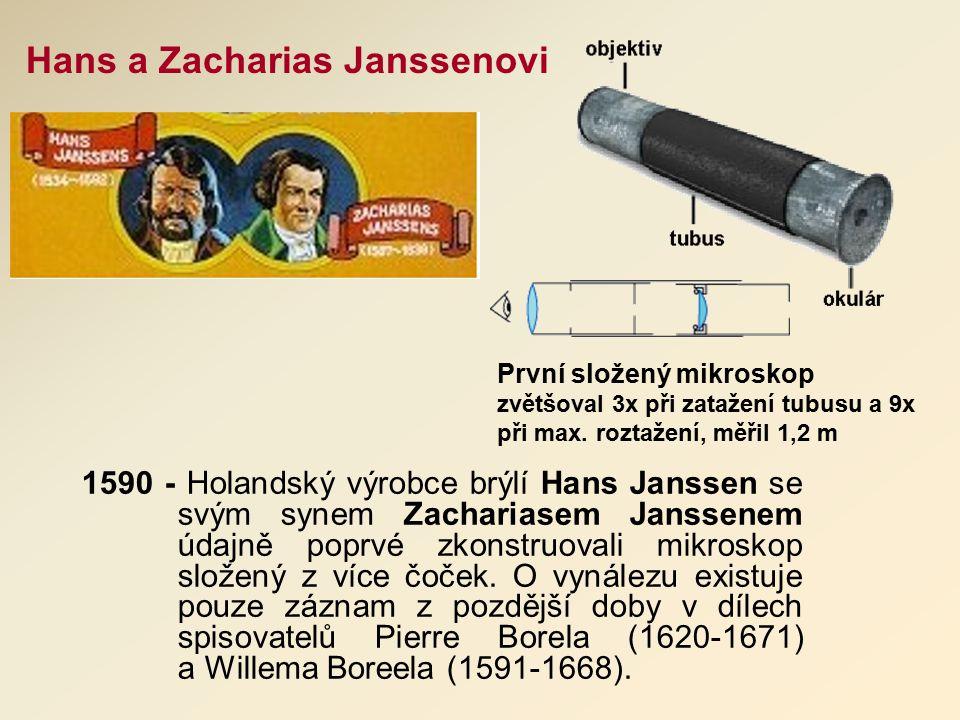Hans a Zacharias Janssenovi První složený mikroskop zvětšoval 3x při zatažení tubusu a 9x při max.